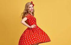 Fashion Model Girl in Polka Dots <b>Summer Dress</b>. Stylish <b>Curly</b>..