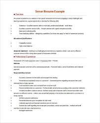 Sample Food Server Resumes Sample Server Resume 7 Examples In Word Pdf