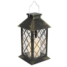 Candle Lights Home Depot Lavish Home 13 25 In Antique Bronze Outdoor Solar Powered Lantern Lamp With Led Pillar Candle