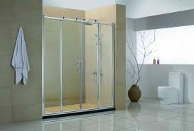 four sliding glass door with silver steel frame and handlers pertaining to interesting glass door bathroom