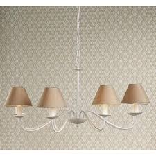 irwin white 8 light chandelier with taupe silk shades