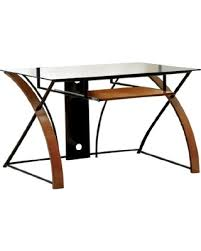 Wood desk with glass top Shaped Furniture Of America Restellia Contemporary Metal And Wood Computer Desk With Glass Top Oak Finish Next Luxury Find The Best Deals On Furniture Of America Restellia Contemporary