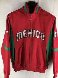 Majestic Jacket Size Chart Mens Mexico Baseball Majestic Thermabase Red Full Zip Jacket