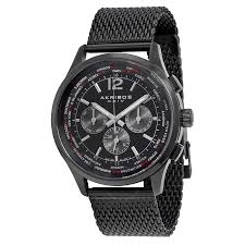 akribos xxiv multi function black dial black ion plated mesh men s akribos xxiv multi function black dial black ion plated mesh men s watch ak716bk