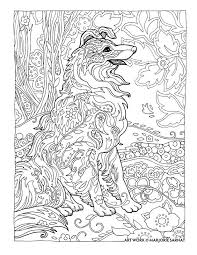 creative haven dazzling dogs coloring book by marjorie sarnat collie mix