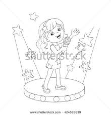 Small Picture Coloring Page Outline Cartoon Girl Singing Stock Vector 424589839