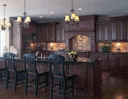 unique 4 dark kitchen cabinets with wood floors on kitchen with stone backsplash dark wood