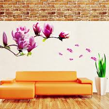 Wallpaper Design Home Decoration Big Size Pink Magnolia Flower Vinyl Wall Stickers Home Decor Rooms 57