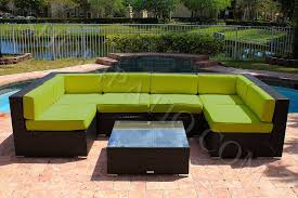 lime green patio furniture. Lime Green - 7 Piece Modern Wicker Outdoor Patio Furniture E