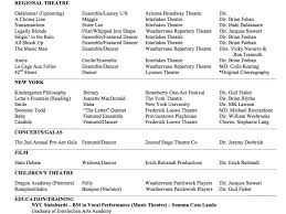 Talent Resume Examples Musical Theatre Template Actor Dancer