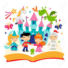a cartoon ilration of cute retro magical fairy tale kingdom story book it s filled with