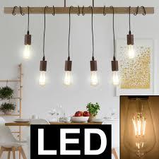 Details Zu Led Esstisch Decken Hänge Lampe 6 Flammig Holz Balken Design Pendel Leuchte