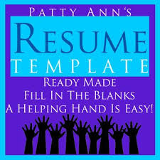 Fill In The Blank Resume Template Magnificent Patty Ann Provides A Helping Hand Up With This Generic Resume