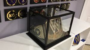 wwe heavyweight universal or women s championship belt display case also used for football helmets