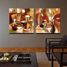 2 Panel Paintings <b>Handpainted Abstract Modern Oil Painting</b> on ...