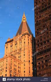 the new york life insurance company building with golden pyramid shaped top before sunset new york city new york usa