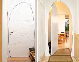 view in gallery painted curved metal door at the entrance