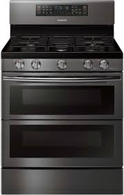 samsung double oven. samsung black stainless steel flex duo freestanding gas range - nx58k7850sg double oven