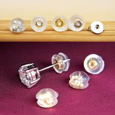 details about 100pcs diy silicone earring findings back stoppers stud plugs ear post nuts