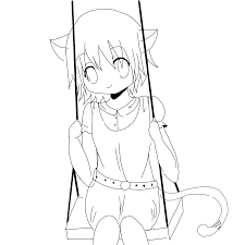 Cute Anime Cat Coloring Pages Neko Girl Lineart By Watereye On