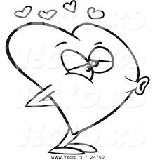 Small Picture Vector of a Cartoon Heart Puckered for a Kiss Outlined Coloring