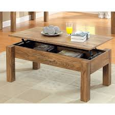 natural teak wooden lift top coffee table with four base leg on grey graphic areas rug and brown wooden tile floor