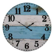 large round 58cm blue white rustic wooden wall clock home decor