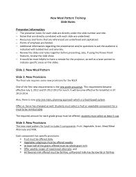 New Meal Pattern Training Slide Notes Presenter Information