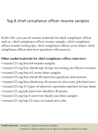 Top 8 chief compliance officer resume samples In this file, you can ref  resume materials ...