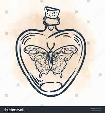 Small Picture Butterfly Heartshaped Bottle Hand Drawn Engraving Stock Vector