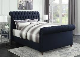 upholstered sleigh beds. Navy Blue Upholstered Eastern King Sleigh Bed,Coaster Furniture Beds