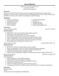 Warehouse Resume Examples Adorable Machine Operator Resume Examples Created By Pros MyPerfectResume