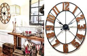 huge clock large vintage decorative wall clocks hobby lobby rustic wood number
