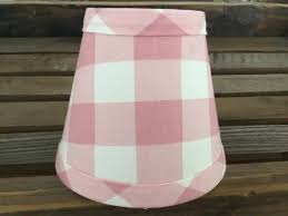 pink and white large gingham chandelier lampshade buffalo check shade
