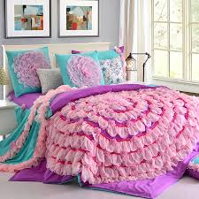designer handmade lace flower art duvet cover teen girl princess bedding set pink purple cotton twin queen king size bed sets in bedding sets from home