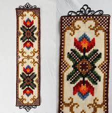 tulip flower cross stitch wall hanging