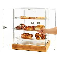 small 2 door cabinet with 3 frosted trays with bamboo base bd139