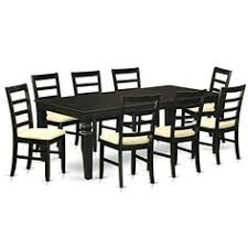 east west furniture 9 piece kitchen table and 8 chairs black
