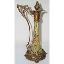 G235 Prunkvolle Jugendstil Karaffe Keramik Mit Kraquele Und Bronzemontierung