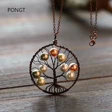 whole reiki fashion tree of life pendant copper handmade wire wrapped pearl shell pendant quartz necklace pearl bridal jewelry silver necklace chain