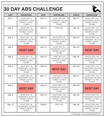 Abs Challenge For Beginners Men Women Abs Workout Chart