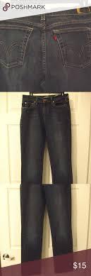 Levis Womens 505 Jeans Straight Leg 8m 29 Blue No Holes Or