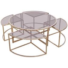 Round Brass Coffee Table With Four Nesting Tables By Maison Charles 1