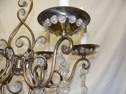 vintage italian brass and glass chandelier light fixture