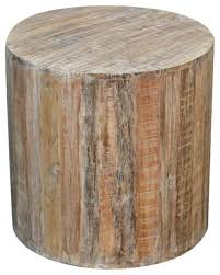 reclaimed wood round stool distressed white