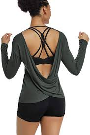 Muzniuer <b>Women's</b> Long Sleeve <b>Workout Shirts</b> Backless <b>Yoga</b> ...