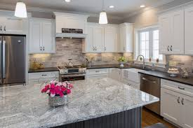 black pearl leather granite and silver cloud island contemporary kitchen