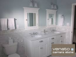 Carrara Subway Tile Marble Traditional Bathroom