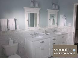 Carrara Subway Tile Marble Traditional Bathroom
