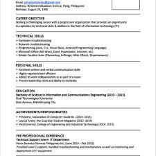 Sample Resume Format For Fresh Graduates One Page Format Regarding